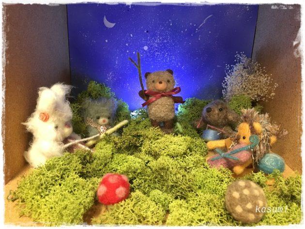月夜の音楽会_羊毛フェルト